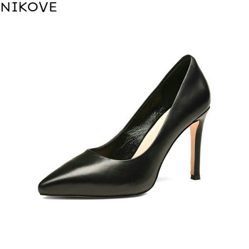 NIKOVE 2018 Women Pumps Shoes Sexy Slip on Pointed Toe Thin High Heels Western Style Cow Leather PU Pumps Women Shoes Size 34-39