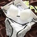 Sexy lace conjunto de sutiã respirável correias push up roupas íntimas femininas ajustáveis