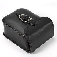 Fashion Universal Black Rectangle Motorcycle Motorbike PU Leather Saddle Bags Side Bags