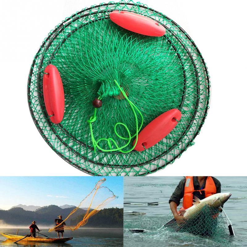 Portable Three Floating Ball Fish Net Cast Mesh Cage Boat Fishing Catching Rubber Silk Material