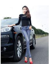 Высокий класс на западе мода старинные заниженной талией ковбой джинсовые брюки разорвал лоскутное почесал хлопок карандаш женские джинсы D101