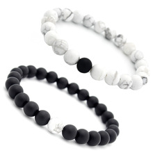 8MM Black Matte Beaded and White stones Bracelets Handmade male female couples women bead bracelet