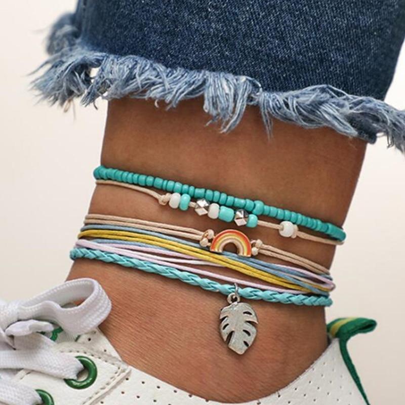 DIEZI Bohemian Handmade Weave Anklets Sky Blue Rope Chain Leaves Anklet Vintage Beads Stone Bracelets for Women Jewelry