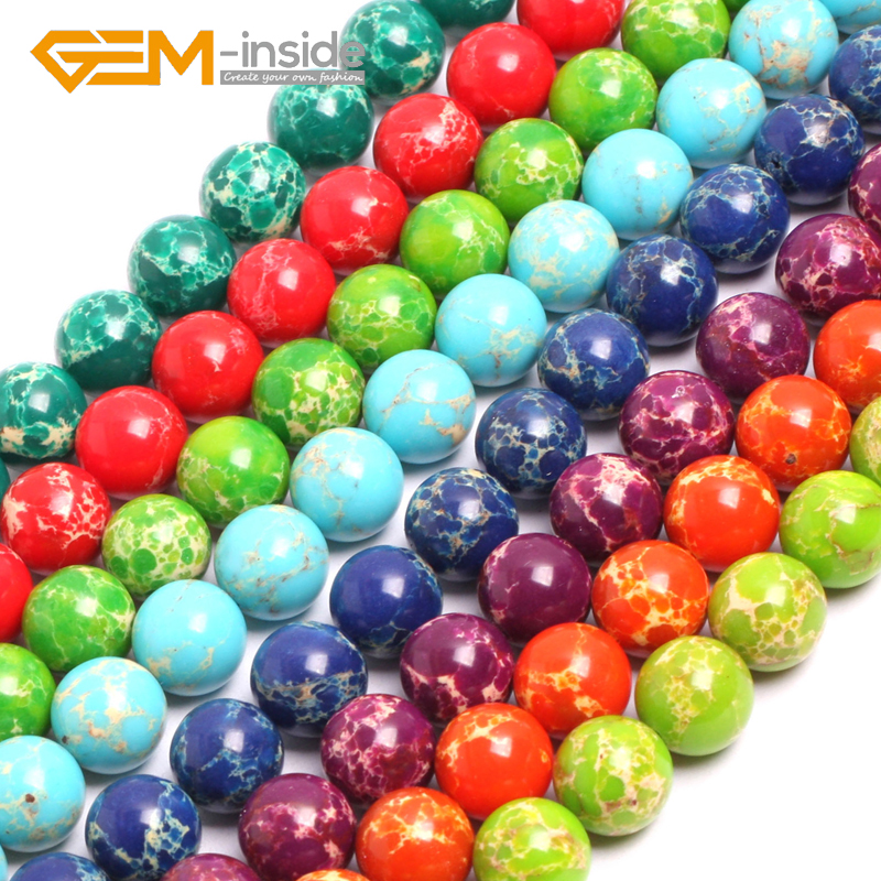 Gem-inside Multicolor 14mm Sea Sediment Jaspe r Beads DIY Beads For Jewelry Making Strand 15 inches DIY !Free Shipping NEW !!