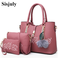 Sisjuly 3pcs Leather Bags Handbags Women Famous Brand Shoulder Bag Female Casual Tote Women Messenger Bag