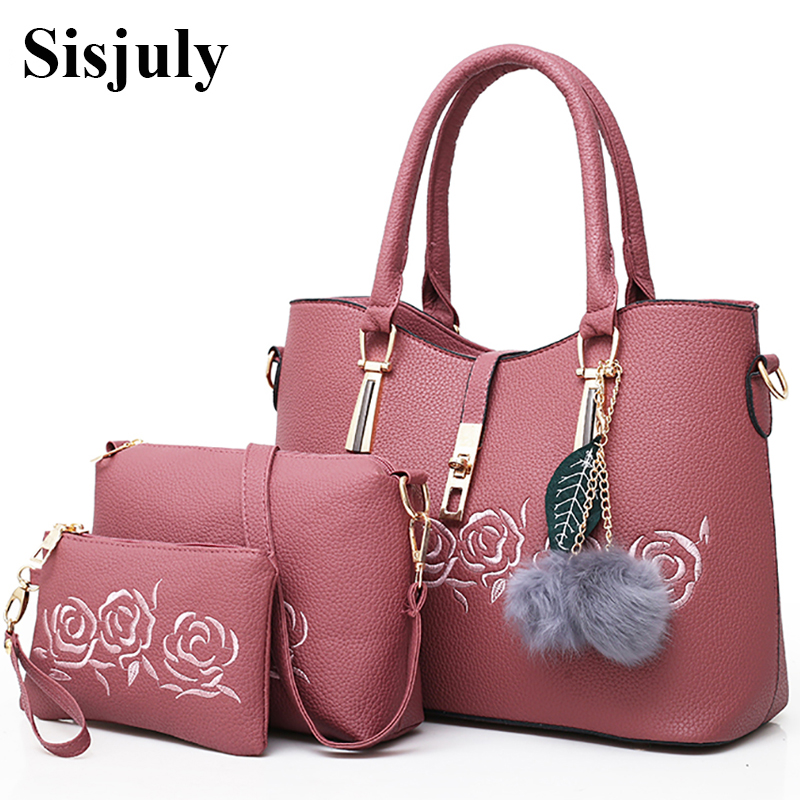 Sisjuly 3pcs Leather Bags Handbags Women Famous Brand Shoulder Bag Female Casual Tote Women Messenger Bag Set Bolsas Feminina sisjuly black 11