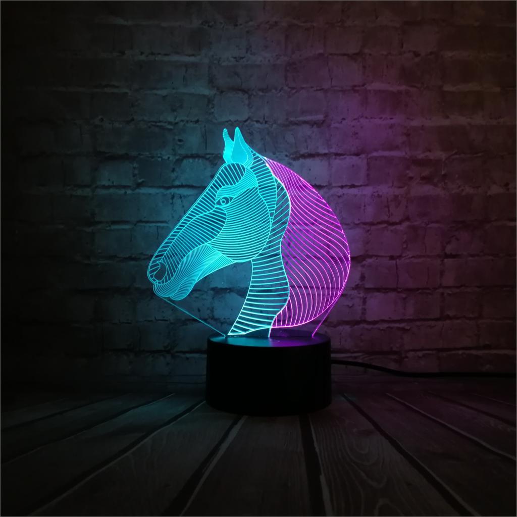 Nuit De Couleur 3d Enfants Cheval Mixte Lumière Lampe Décor Animal XTiukOPZ