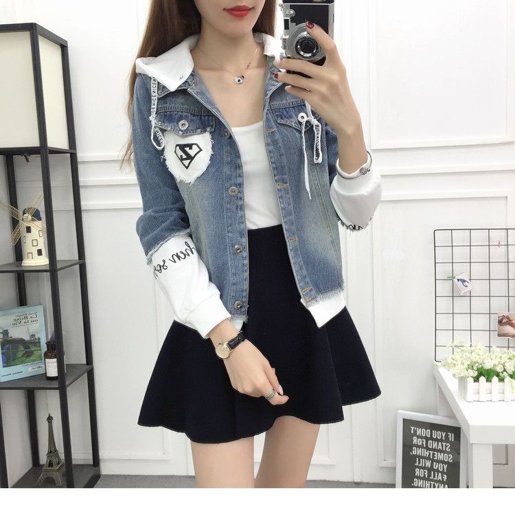 New Autumn Casual Hooded Short Denim Jacket Women Fashion Splicing Patch Coat Plus size Pockets Loose Jackets Jeans Coat Female 44
