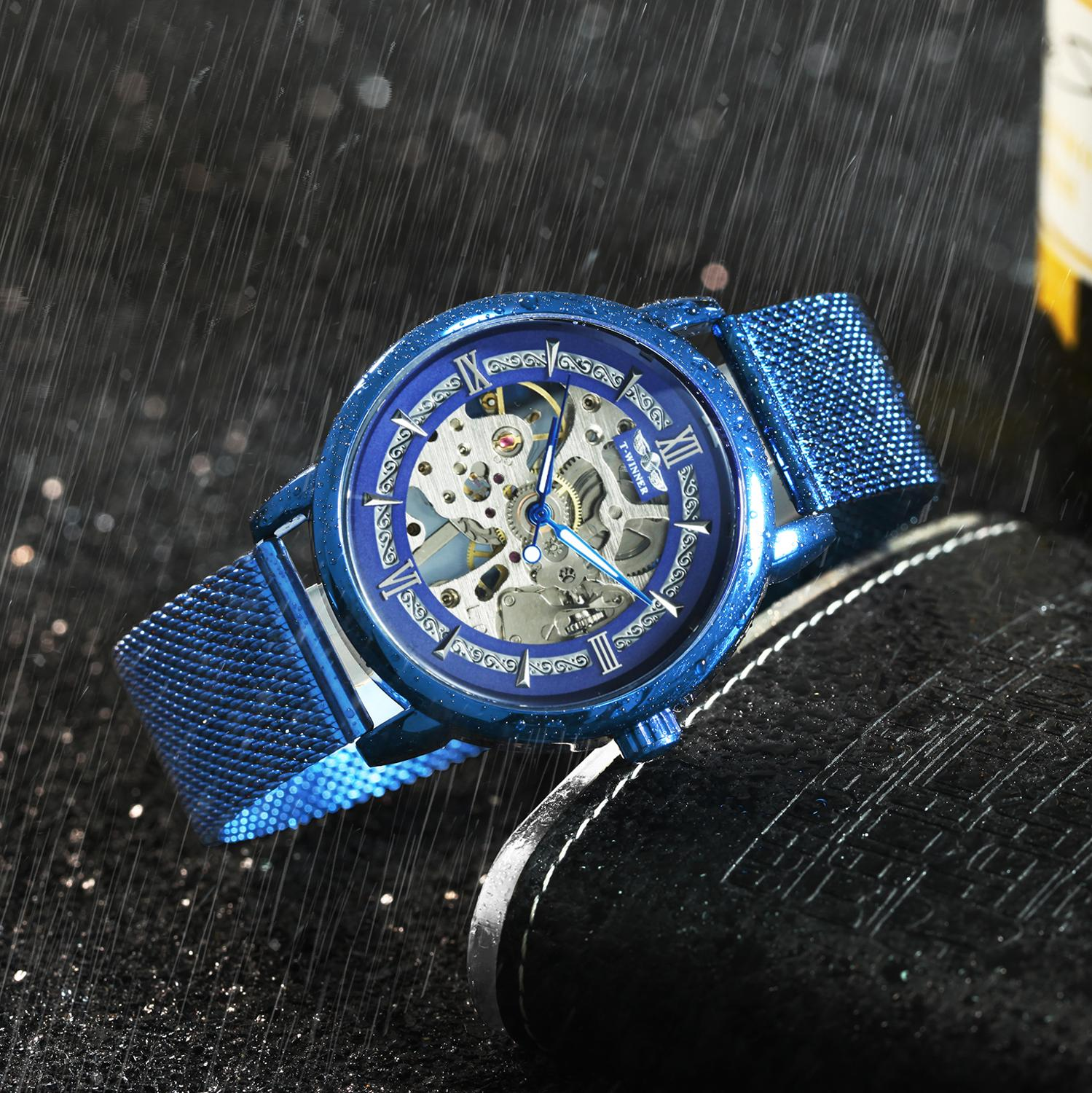 Image 3 - WINNER Official Fashion Casual Men Mechanical Watch Blue Mesh Strap Ultra Thin Skeleton Mens Watches Top Brand Luxury Clock 2019-in Mechanical Watches from Watches