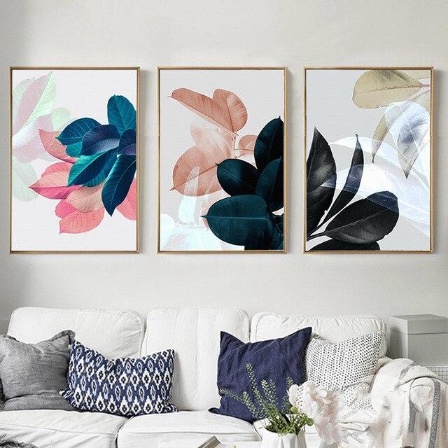 SPLSPL Nordic Plakaty i Reprodukcje Roślin Zielonych Liści Obraz Wall Art Canvas Malarstwo Dla Dekoracji Salonu Sypialni Obraz