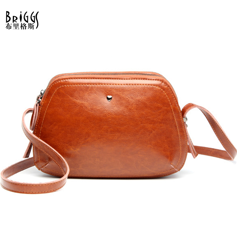 BRIGGS Brand Small Shell Bag Women Crossbody Bags For Women Shoulder Messenger Bags Vintage Genuine Leather Handbag High Quality high quality vintage ethnic embroidery bag features delicacy small handbag diagonal shoulder women messenger bags bs561