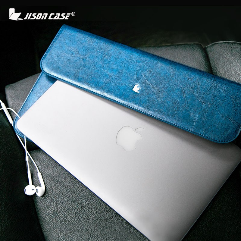 Jisoncase Genuine leather Sleeve Case for MacBook Air Pro 11 12 13 inch Slim Cover Fashion Design Luxury Brand Laptop Bag