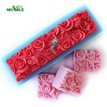 زهرة الورد سيليكون رغيف قالب الصابون مستطيلة تنقش قالب الديكور لتقوم بها بنفسك أداة اليدوية