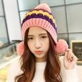 Зима весна и осень зима шляпа женщина шерсть шляпа детей крышки осенью цветной шар вязание Г-Жа Корейский