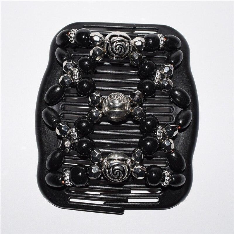 Standardowy grzebień srebrna róża kwiat czarny koraliki 20 sztuk/partia magia grzebień w Biżuteria do włosów od Biżuteria i akcesoria na  Grupa 1