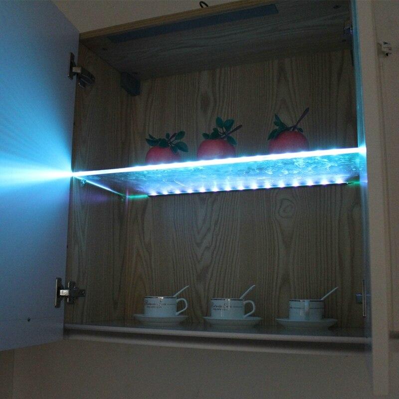 Prateleira de vidro led sob luzes do armário borda de vidro luz lateral traseira 30/40/50 cm clipe braçadeira lâmpada vitrine lâmpadas licor prateleira decoração