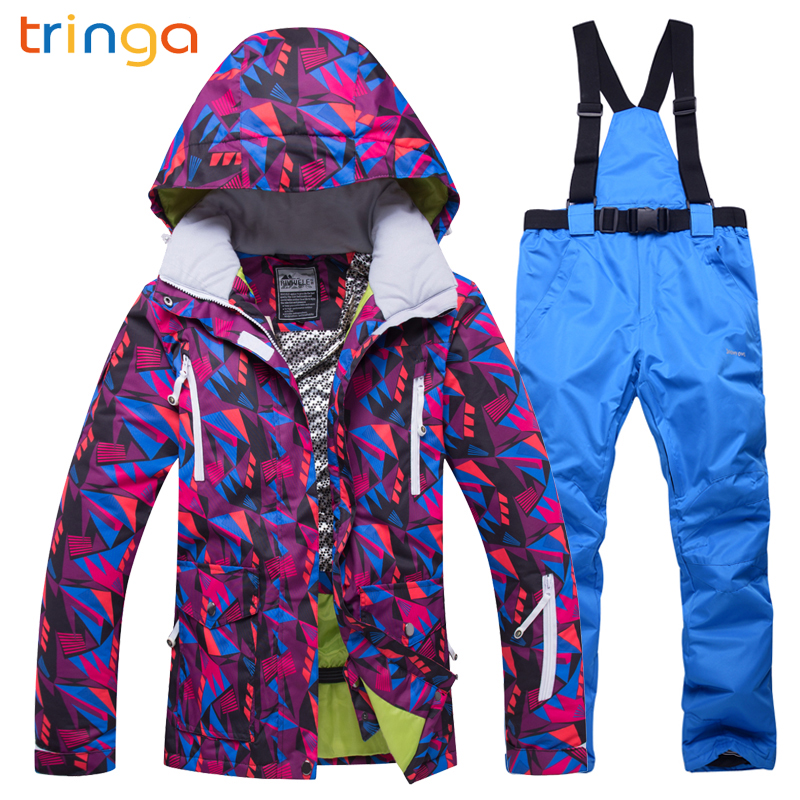 TRINGA Brands New Ski Suit Woman Winter Skiing Sets Windproof Waterproof Breathable Outdoor Snow Jacket Pants Snowboarding Suits pursue 22 56 cm big smile face reborn boy toddler baby doll cotton body vinyl silicone baby boy doll for children birthday gift