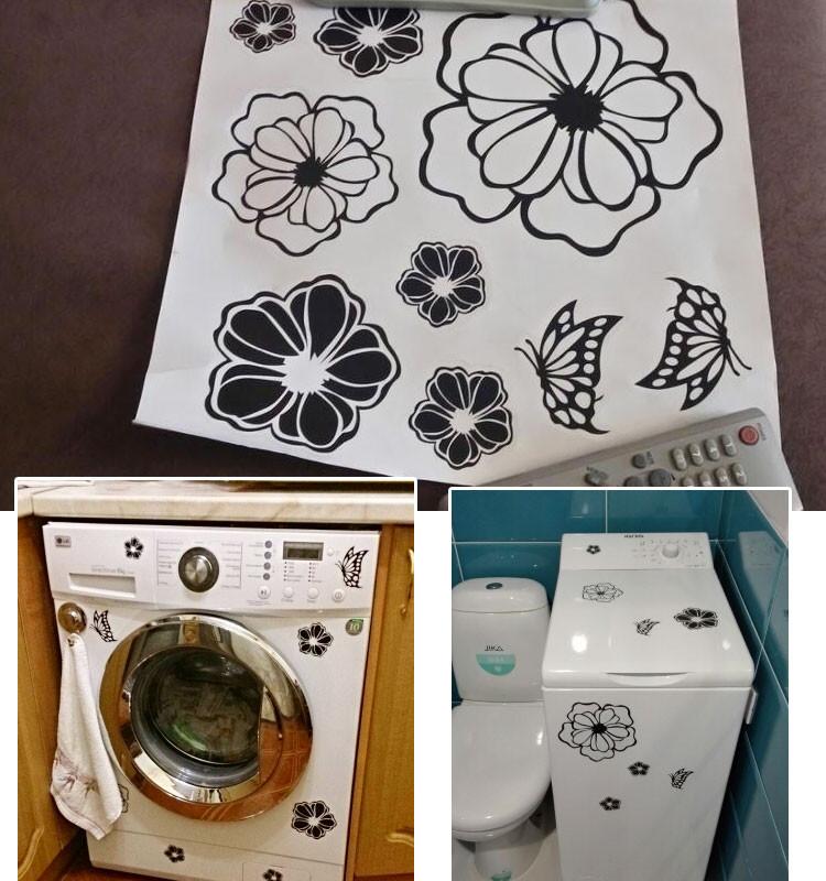 HTB1bMSvKFXXXXXHXXXXq6xXFXXXU - High Quality Household Washing Machine Refrigerator Stickers Flowers Butterflies Wall Stickers Home Decor For Kitchen Bathroom