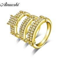 AINUOSHI 9,7 г настоящее золото Трио Набор Колец обручение ювелирные изделия 10 К желтого золота обручальное кольцо для пары нежный двойной сверл