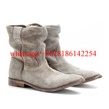 Women Spring/Autum Suede Leather Boot Shoes Slouchy Ankle Boots Women Street Style Boots Crisi Suede Concealed Wedge Biker Boots