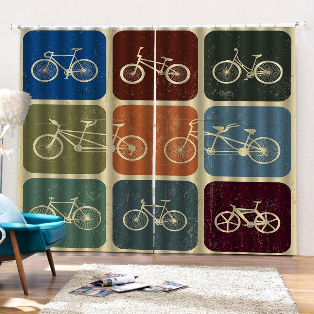 bicycle curtains 3D Window Curtain Dinosaur print Luxury Blackout For Living Room Decoration curtains