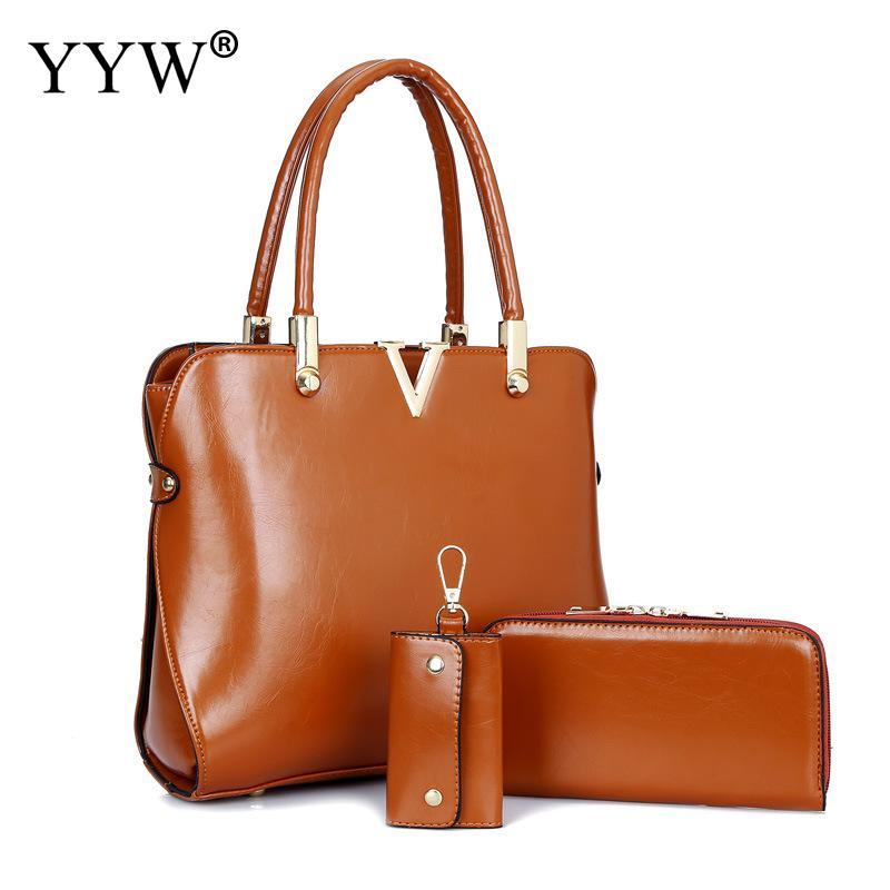 3 PCS/Set Brown PU Leather Handbags Women Bag Set Famous Brands Tote Bag Lady's Top-Handle Bags Clutch Bag Black Womens'Pouch