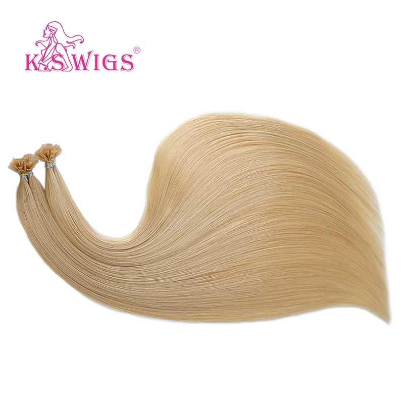 K.S peruki 16 ''20'' 24 ''28'' prosto Remy Nail U Tip doczepy z ludzkich włosów Pre Bonded keratyny kapsułki Fusion ludzkie włosy