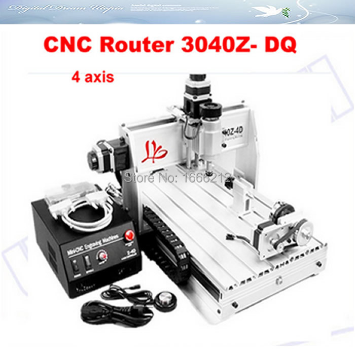Russia no tax CNC router 3040Z-DQ , cnc 3040 wood carving machine 3040T-DJ, with 4th axis (a axis),engraving machine