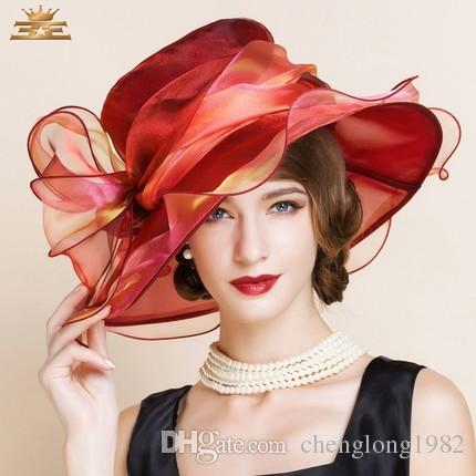 Women Church Hats Women Dress Hats Derby Church Hats 100% Polyester Satin Ribbons Two Colors Available - 3
