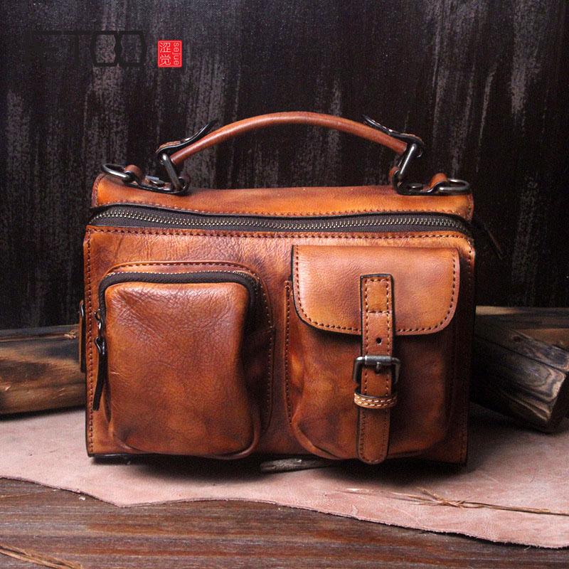 AETOO Retro bag female new handmade leather handbag leather handbag female Messenger bag women все цены