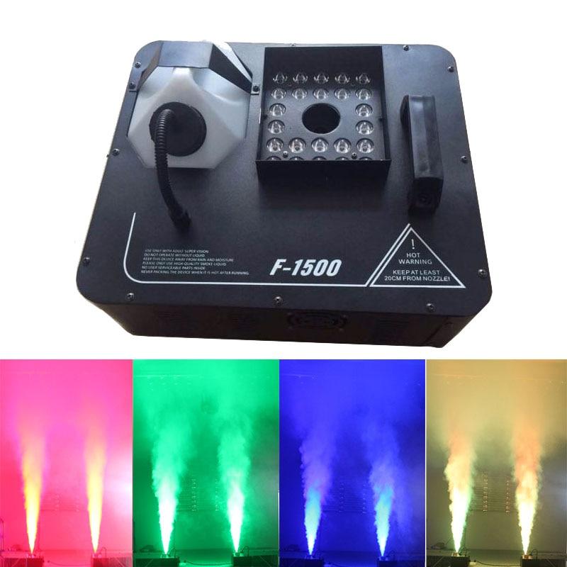 1500W DMX Fog Machine 24x3W LED RGB Pyro Vertical Smoke Machine Professional Fogger For Stage Party Club Halloween Equipment