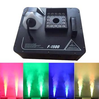 1500W DMX Fog Machine 24x9W LED RGB Pyro Vertical Smoke Machine Professional Fogger For Stage Party Club Halloween Equipment