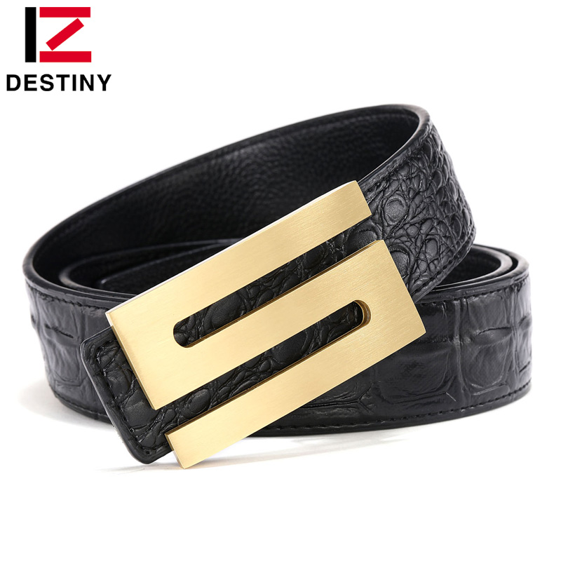 DESTINY Classic S Belt Men Famous Brand Designer Belts Luxury Male Genuine Leather Strap Copper Buckle Fashion Gold Crocodile