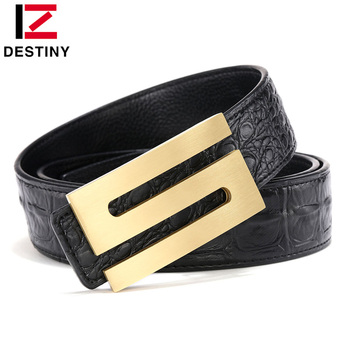 DESTINY Classic S Belt Men Famous Brand Designer Belts Luxury Male Genuine Leather Strap Copper Buckle Fashion Gold Crocodile