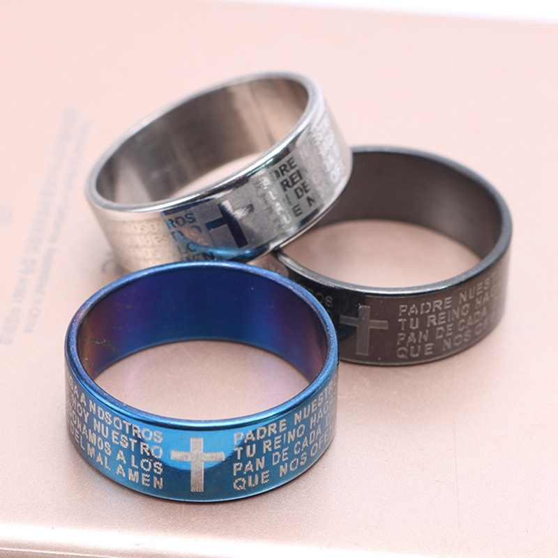 New Fashion Style Engraved Bible Cross Ring for Men 3 Colors Option Letter Steel Stylish Prayer Male Jewelry US Size Gifts