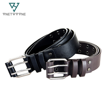 Fashion Style PU Belts For Men Women Male Double Pin Buckle Belt Designer PU Leather Waist Belts Black Rivet Belt Straps 2PU1