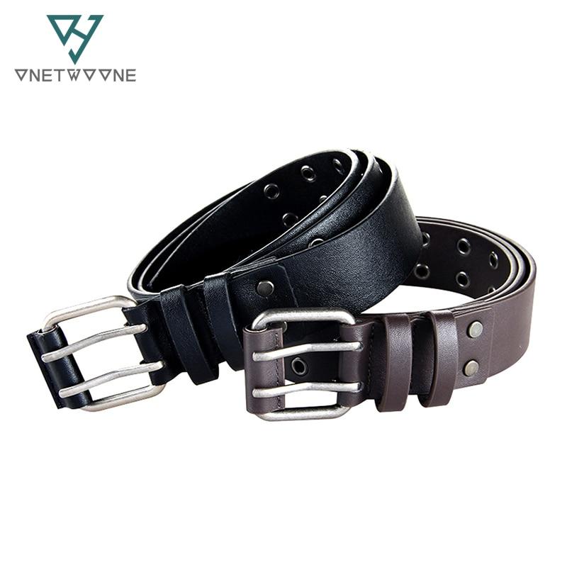 664fa749665e Style de mode PU Ceintures Pour Hommes Femmes Deux Broches Mâle Boucle  ceinture Designer PU Cuir Taille Ceintures Noir Rivet Ceinture Bretelles  2PU1
