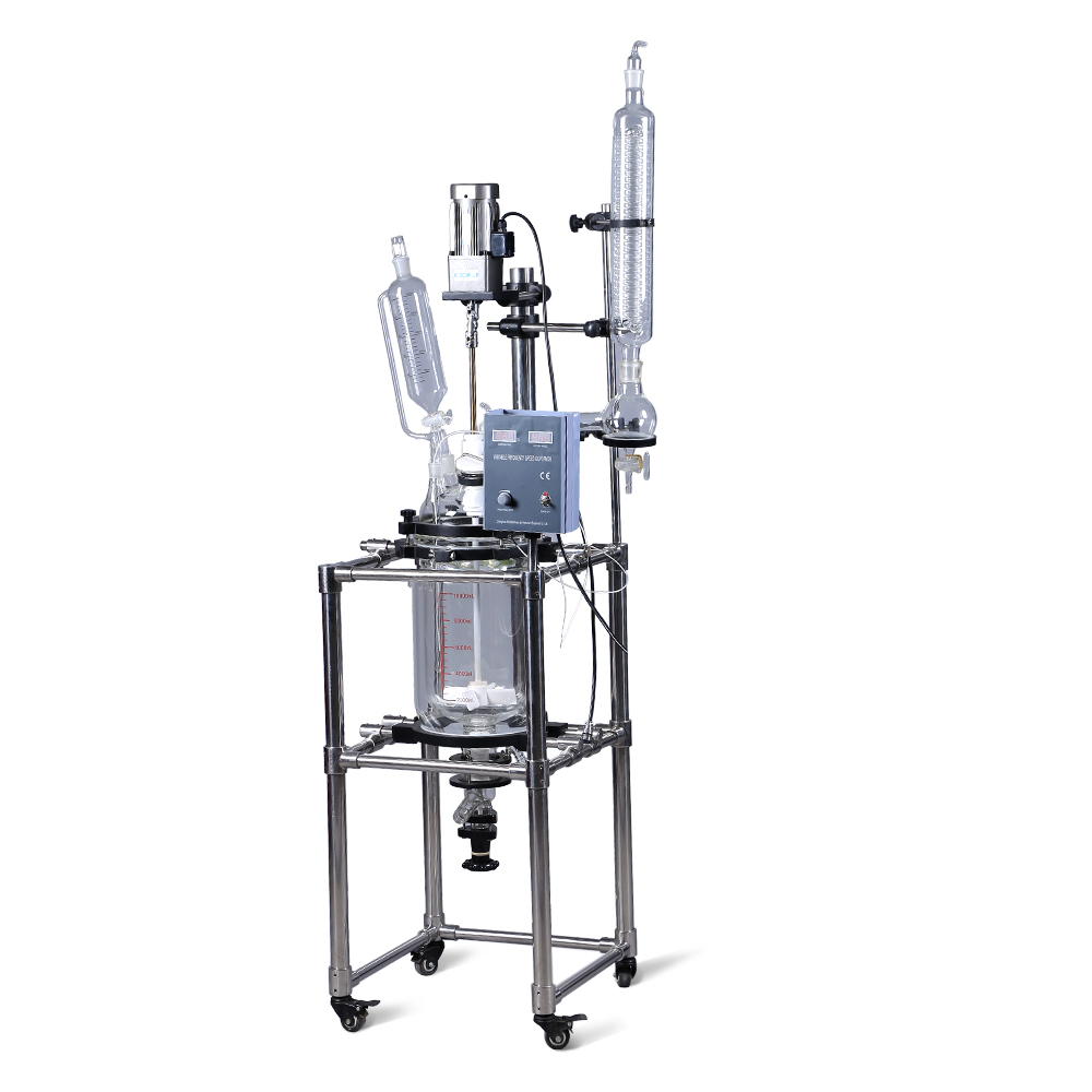 ZOIBKD 10L Double lined Vacuum Chemical glass reactor with High borosilicate GG3.3 Glass from laboratory Equipment Manufacturer купить недорого в Москве
