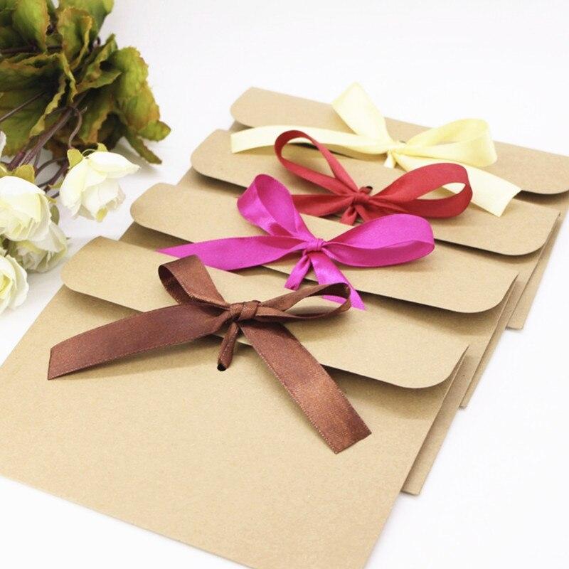50pcs Vintage Kraft Paper CD Paper Envelopes DVD Papar Case Bag Gift Bag CD Paper Storage Bags Cover Holding 1CD Envelope+ribbon