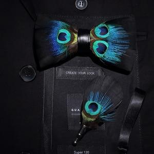 Image 4 - JEMYGINS الأصلي إيطاليا تصميم جديد ربطة العنق ريشة Brid الطبيعية رائعة يدوية الرجال ربطة القوس فيونكة بروش دبوس علبة هدايا خشبية مجموعة