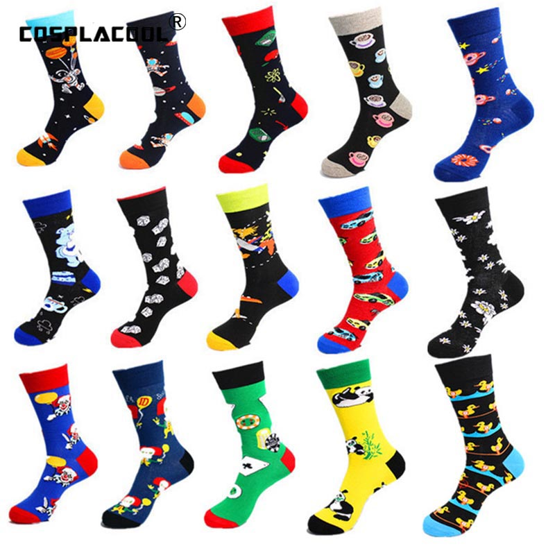 [COSPLACOOL]Men Harajuku Happy Cool Socks Wedding Novelty Panda Sokken Creative Crew Socks Men Colorful Funny Socks Unisex Gifts