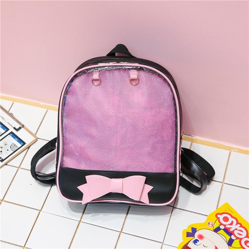 Clear Transparent Women Backpack Cute Bow Ita Bags For School Mini Pink Black Schoolbags For Teenage Girls Fashion Bookbag