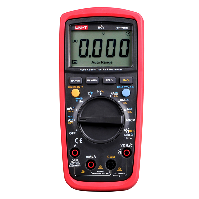 UNI-T UT139C True RMS 2.6 LCD Digital Multimeter Handheld Tester 6000 Count Voltmeter Temperature Test transistor uni t ut139a ut139b ut139c digital multimeter auto range true rms meter handheld tester 6000 count voltmeter temperature test