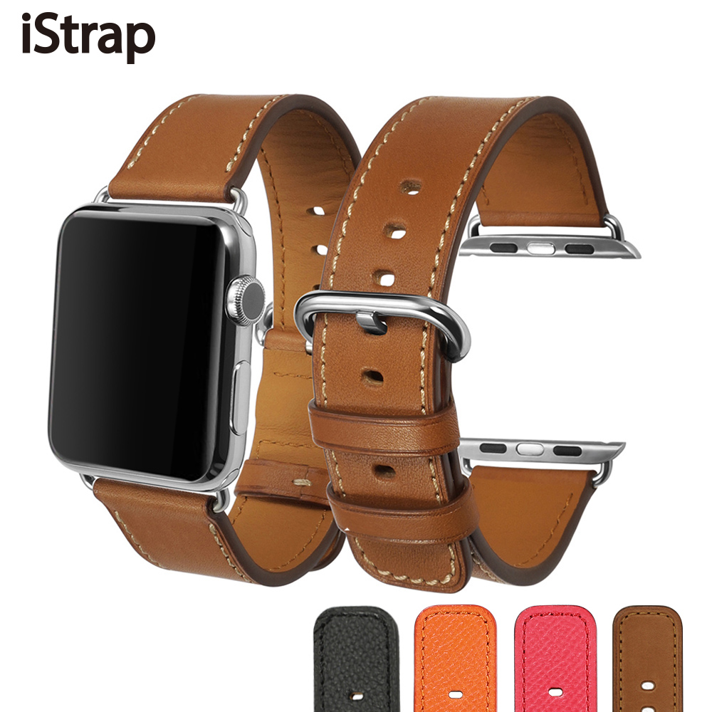 iStrap for Apple Watch Strap For Sport Edition Series 1 2 3,High Quality Calf Leather Watchband For Apple watch band 38mm 42mm 42mm 38mm for apple watch s3 series 3