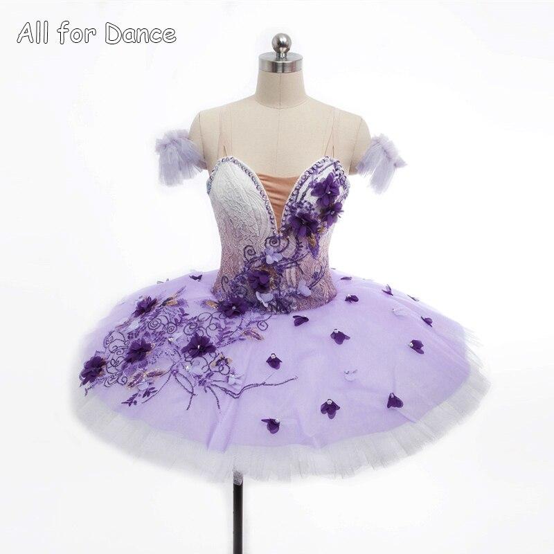 Kundstorlek Lila gradientfärg Professional Dance Pancake Tutu för tjej / kvinnors balett tävling / gradering dans