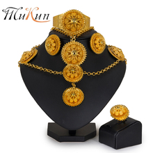 MUKUN Indian jewelry African Bead Jewelry Sets Nigeria Wedding Big earrings necklace set Brand dubai jewelry sets Costume Design