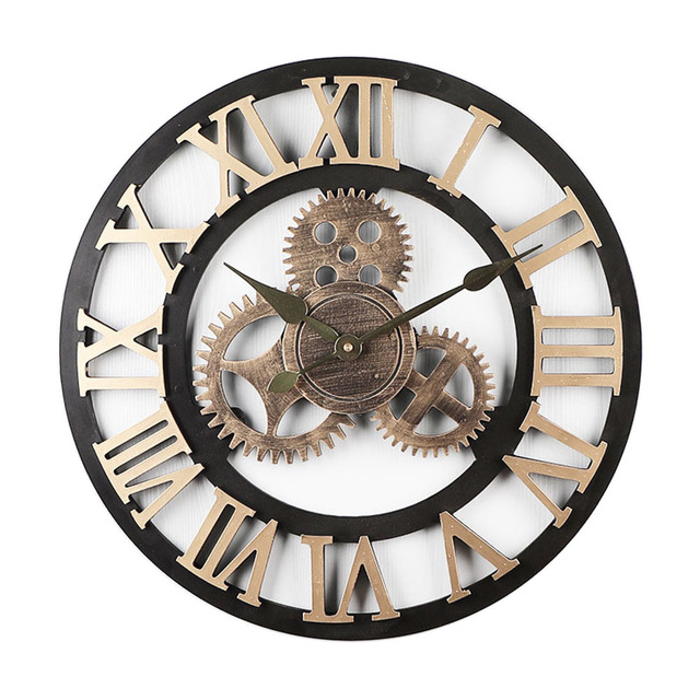 Lovely Mute Wall Clock Vintage Gear Silent Digital Clocks Living Room Bedroom Gift Home Decoration @LS JU11