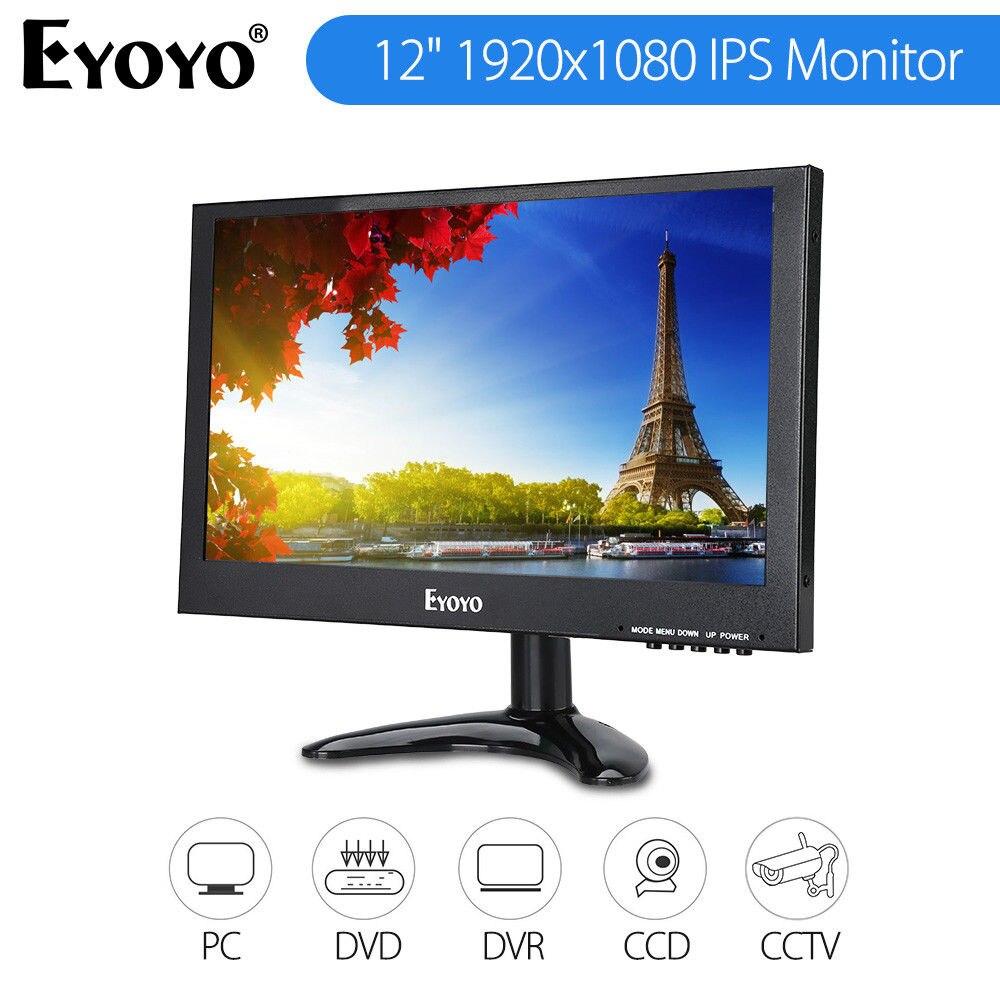 EYOYO 12 1920x1080 IPS Moniteur 178 degrés BNC VGA AV USB HD Entrée Vidéo Avec Télécommande pour PC CCTV DVR Sécurité Caméra FPV