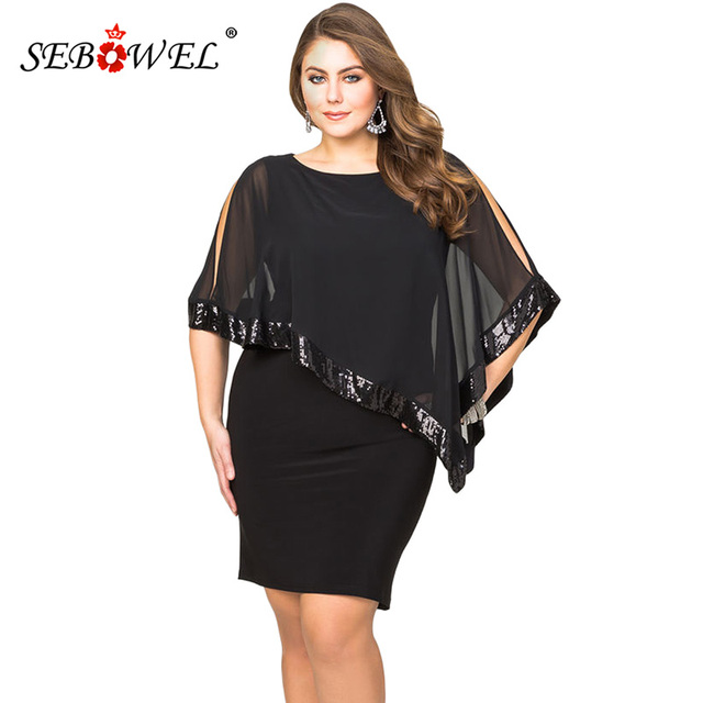 99390426d6c SEBOWEL Sexy Black Plus Size Sequined Mesh Poncho Bodyocn Party Mini Dress  Women Elegant Large Size Nightclub Dresses 4XL 5XL
