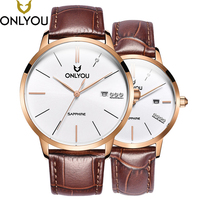 Onlyou кварцевые часы для Для мужчин Для женщин любовника наручные Часы Топ Элитный бренд синий/коричневый ретро кожаный ремешок пару Календа
